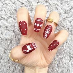 NAILED IT! Hand Painted False Nails - Burgundy Cosy Knit by NailedItByChelsey on Etsy https://www.etsy.com/uk/listing/475934368/nailed-it-hand-painted-false-nails