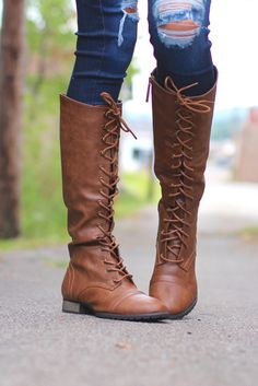 Outlaw Tall Combat Boots {Tan} - The Fair Lady Boutique - 1
