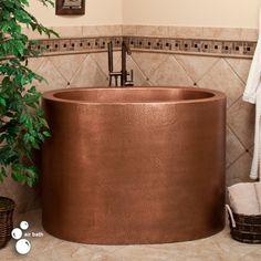 "48"" Raksha Hammered Copper Oval Japanese Style Soaking Air Bath Tub"