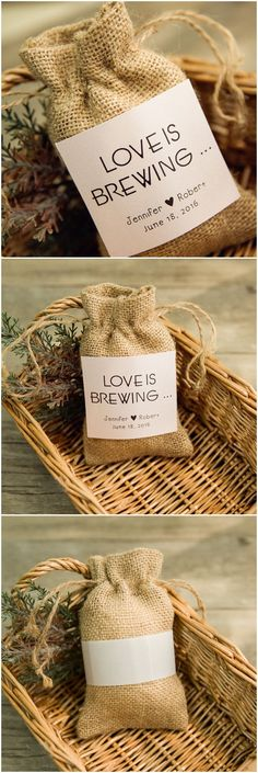 re looking for wedding favor ideas for your rustic themed wedding this chic burlap wedding f&;re looking for wedding favor ideas for your rustic themed wedding this chic burlap wedding f&; Burlap Wedding Favors, Creative Wedding Favors, Wedding Favor Bags, Wedding Favors For Guests, Unique Wedding Favors, Unique Weddings, Wedding Ideas, Coffee Wedding Favors, Fall Wedding