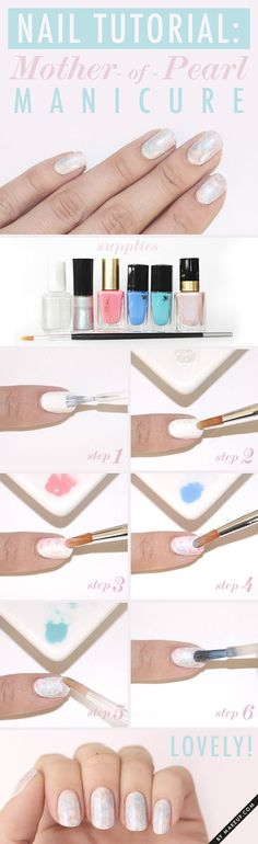 How to: Mother of Pearl manicure. You'll need: pink, teal, blue and white nail polish, iridescent polish, an art brush, nail polish remover, and top coat. This will give your nails almost a holographic effect!