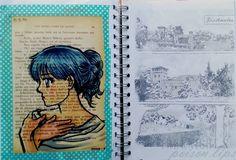Manga sketchbook - A sinistra: copic su carta di libro vintage (ho sbagliato il colore delle mani!!!) A destra: image transfer, immagine tratta da una tavola del capitolo 2 con la vista di Blackwater, del castello e del fiume.