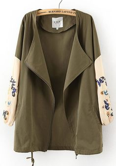 Army Green Color Block Drawstring Cotton Trench Coat