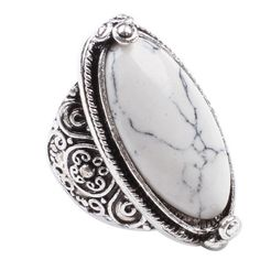 ON SALE Cafa Charming White Turquoise Tibet Silver Plated Fashion Ring Size 8