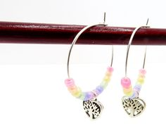 Tree of Life Pastel Rainbow Earrings Beaded Rainbow Fashion Tree Of Life Earrings, Rainbow Fashion, Earring Tree, Jute Bags, Close To My Heart, Heart Charm, Rainbows, Beaded Earrings, Fashion Earrings