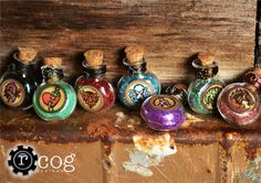BIOSHOCK INFINITE VIGORS - Choose your favorite -  Round Glass Bottle - Necklace. $16.00, via Etsy.