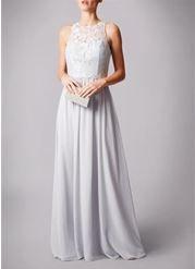 Dove Grey lace top chiffon prom dress.  #prom #dovegrey #grey  #chiffon  #lace #simple  #promdress #nighttoshine #prom2018 #adeavabridal