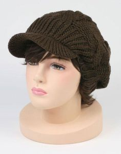 Cable Knitted Winter Beanie Skully Cap with Visor Brown $12.95