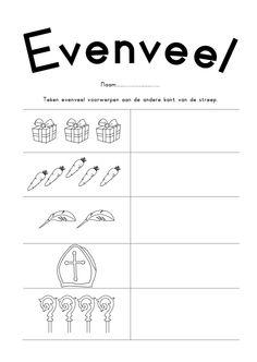 Werkblad rekenen: - Evenveel. Saint Nicholas, A Blessing, Pre School, Diy For Kids, Homeschool, Teaching, Stamps, Occupational Therapist, Education