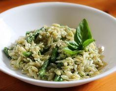 Basil Pesto Orzo (use canned pesto, juice from one lemon, and lemon zest) YUM!  Add grilled shrimp or chicken...