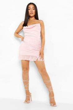 Petite Cowl Neck Ruched Front Mesh Mini Dress | boohoo Boohoo Petite, Petite Outfits, Clothes For Sale, Cowl Neck, Fit Women, Mesh, Model, How To Wear, Collection