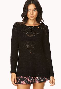 Chic Distressed Open-Knit Sweater - http://AmericasMall.com/categories/womens-wear.html