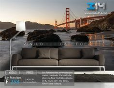 Fotomurales ciudad San Francisco Puente Golden Gate (Tapiz) (mural) (fotomural)Decoración de muros y superficies lisas. Vinilo 314 Guadalajara Mexico. www.vinilo314.com