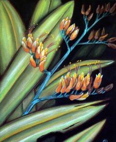 NZ Flax flowers. New Zealand Flax, New Zealand Art, Flax Flowers, Forest Mural, Teaching Art, Teaching Ideas, Nz Art, Plant Painting, Belly Painting