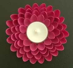 Pistachio Shell Flower Tealight Candle Holder  Pink by YarnRoad