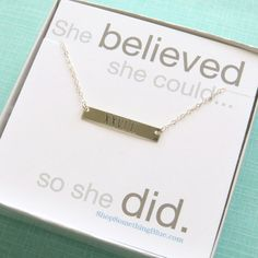 Engraved Bar, Marathon Necklace, Roman Numerals, Sterling Silver, Runners Necklace, Marathon Jewelry, Running, She Believed Sentiment Card