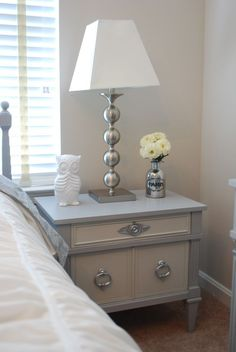 Silver Nightstand for Bedroom Furniture Ideas: Cool Bedroom Design Ideas With Beds Frame Mattress Ideas And Wood Headboard Ideas Also Silver Nightstand Ideas By Table Lamp And Table Accessories Ideas For Bedside Tables Mirror Nightstand #shabbychicdressersgrey #shabbychicdresserswithmirror