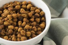 Spicy Curry Roasted Chickpeas - Omit the oil, and use the aquafaba (liquid from the can) to moisten the chickpeas instead.