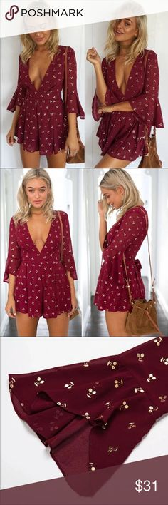 ✨🍒Trendy gold cherry romper /jumper burgundy/wine Super cute gold cherry chiffon romper/ jumper. Absolutely in love with it! It's a burgundy/ wine red color. Dress it up or down it can be worn casually or for a night out ☺️🍒✨.  🚫 No trades. 🚫 Bundle 2 items and receive %5 off 🤗 Bundle 4 or more items and receive 20% off 🤗  Same or next day shipping (typically) ✈️ Tagged brand for exposure Missguided Pants Jumpsuits & Rompers