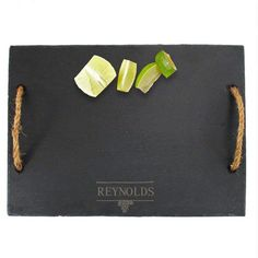 Personalized Svelte Slate Cheese Board with Rope Handles ($40) ❤ liked on Polyvore featuring home, kitchen & dining, serveware, cheese board, slate cheese serving board, slate cheese board, cheese serving board and personalized slate cheese board