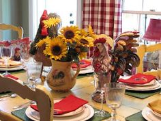 Country decor table scape - roosters