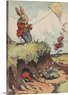 Rabbit And Mice Flying Kite Wall Art - Item #2128705