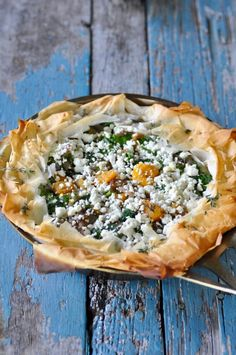 Skillet Phyllo Pie with Butternut Squash, Kale & Goat Cheese Test Kitchen, Spanakopita, Goat Cheese, Butternut Squash, Veggie Recipes, Kale, Quiche, Entrees, Survival