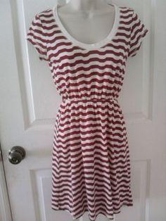 sailor stripe nautical SO soft summer dress small s kohls juniors maroon red  #so #Sundress