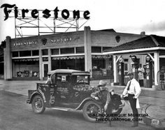 Model A Ford at Firestone Gas and Service Station.
