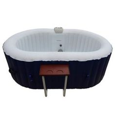 Aleko Oval Inflatable Hot Tub Spa With Drink Tray and Cover - 2 Person - 120 Gallon - Dark Blue Jacuzzi Tub, Whirlpool Bathtub, Round Hot Tub, Hot Tub Cover, Drinks Tray, Modern, Deep Relaxation, Health Benefits, Hot Tubs