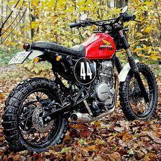 Dirty Sandy: a custom Honda Dominator dual sport from France. Honda Dominator, Honda Scrambler, Cafe Racer Motorcycle, Motorcycle Helmets, Blitz Motorcycles, Honda Motorcycles, Custom Motorcycles, Tracker Motorcycle, Moto Bike
