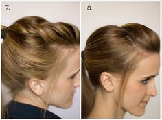 7.  Twist back the top -Part your hair to one side. -On the heavy side of your part, section out a 2-3 inch section that goes back to the middle of the top of your head. -Clip everything else aside for later. -With your bang section, you can do a french braid or a twist.  It helps to backcomb it first for more body. -Once your braid/twist is complete, combine it with the rest of your hair and put it in a ponytail as you normally would. #hair #style #hairstyle #ponytail #tail