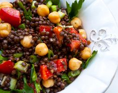 Black Beluga Lentil Salad With Chickpeas & Veggies italian recipes, veggie salads, salad recipes, dressings, black lentil, diets, chickpeas, chickpea salad, italian foods