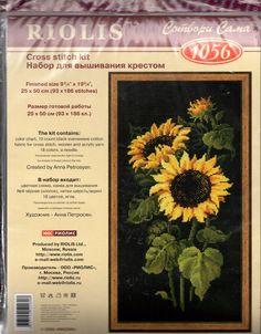 "Riolis Cross Stitch Kit Sunflowers on Black  #1056 Size 9 3/4"" x 19 3/4"" New #Riolis #CountedCrossStitch"