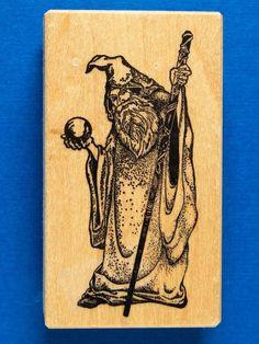 PSX E 700 Fantasy Wizard w Crystal Ball Staff Rubber Stamp Gandalf Dumbledore | eBay