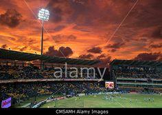 A fiery sky awaits the West Indians warming up before the start of the 20-20 world cup cricket finals. Colombo, Sri Lanka. 7th October, 2012. #AlamyiPadApp    © Jiti Chadha / Alamy