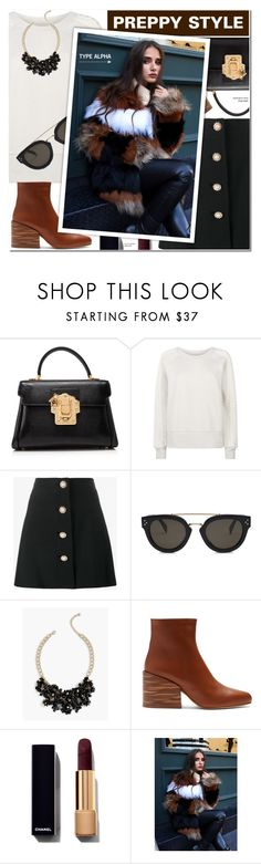 """""""Preppy style - Striped Fox/Raccoon Jacket"""" by typealpha ❤ liked on Polyvore featuring Dolce&Gabbana, Burberry, Miu Miu, CÉLINE, Talbots and Gabriela Hearst"""