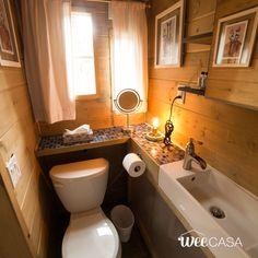 Pa Dutch Weecasa Tiny House Small Space Bathroom One Room Hampton Style Bathrooms, Farm Style Bathrooms, Tiny Bathrooms, Beautiful Bathrooms, Small Space Bathroom, Glass Bathroom, Small Spaces, Bathroom Ideas, A Frame Cabin