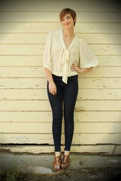 Sheer for Day: Sheer tie-front blouse