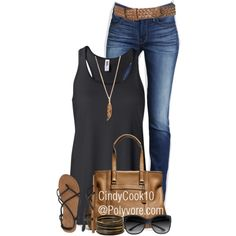 """Tank, Jeans and Sandals"" by cindycook10 on Polyvore"