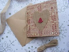 Hessian heart Christmas card Wooden tree by SophiesHouseofCrafts