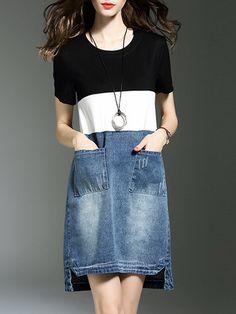 Shop Mini Dresses - Casual Crew Neck H-line Cotton Short Sleeve Mini Dress online. Discover unique designers fashion at StyleWe.com.