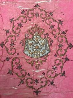 Antique Gold & Silver Metallic Hand Embroidery On Silk Panel Crown Motif