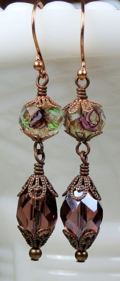 Unique Amethyst Purple Crystal and Lampwork Beaded Long Dangle Earrings, Vintage Victorian Inspired Jewelry.
