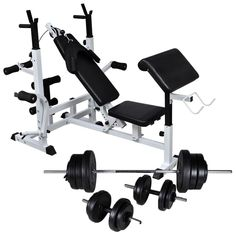 Weight bench with weight rack and dumbbell set 90 kg - This weight bench with a weight rack and dumbbell set offers an ideal training solution for both be - Sport Volleyball, Sport Basketball, Cardio Training, Muscle Training, Chest Muscles, Back Muscles, Arm Curls, Weight Rack, Leg Curl