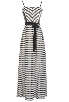 On The Deck Stripe Maxi Dress With Contrast Sash in Black/Ivory  www.lilyboutique.com