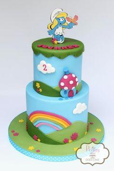 Smurfette Cake by Peggy Does Cake Pretty Cakes, Beautiful Cakes, Amazing Cakes, Tartelette, Smurfette, Fondant Cupcakes, Food Decoration, Birthday Cake Girls, Girl Cakes