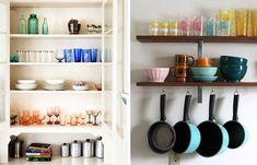 Ideas para organizar las repisas abiertas en la cocina