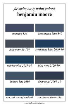 Favorite Navy Blue Benjamin Moore Paint colors: Stunning, Kensington Blue, Hale Navy, Symphony Blue, Marine Blue, Blue Note, Hudson Bay, Deep Royal, New York State of Mind, Van Deusen Blue