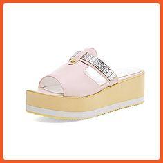 AdeeSu Womens Platform Peep-Toe Solid Pink Urethane Platforms Sandals - 4 B(M) US - Sandals for women (*Amazon Partner-Link)
